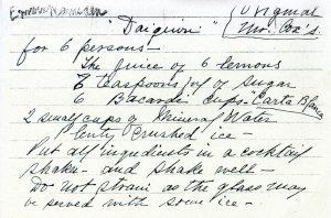handwritten recipe card of a daiquiri recipe